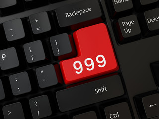 Keyboard with a word 999