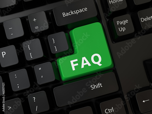 Keyboard with a word faq
