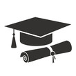 graduation cap and diploma silhouette icon