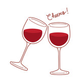 Red Wine Glasses In Doodle Style