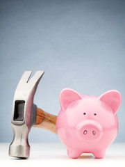 Front View of a Piggy Bank and Hammer