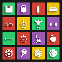 fitness sport and health flat design icons set