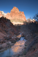 River Flows Sunrise Glow Rocky Butte Zion National Park