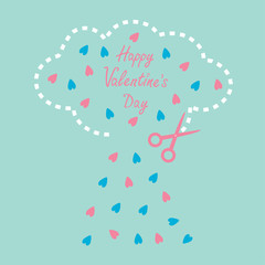 Cloud with hearts inside and scissors. Happy Valentines Day card