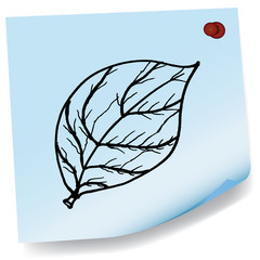 drawing of leaves on sticky paper vector