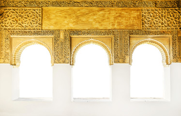 Windows at the Alhambra isolated on white, Granada, Spain.