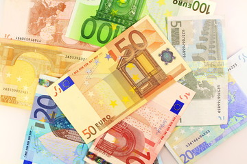 Euro note over foreign as background