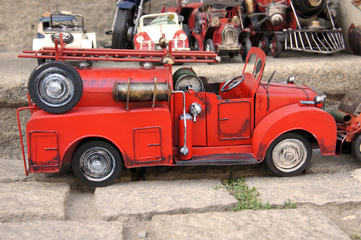 Red toy vintage metal car firetruck