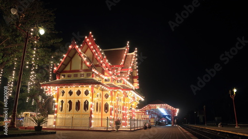 Timelapse view of the Hua Hin railway station at night
