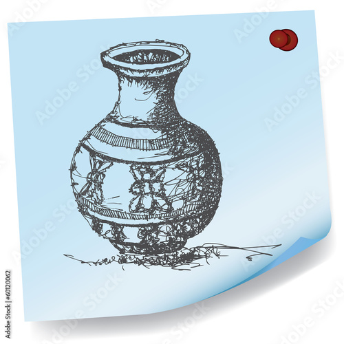 drawing of jar on sticky paper vector