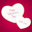 Valentine card with paper hearts