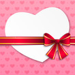 Valentine card with pink ribbon