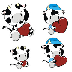 cow baby cartoon set