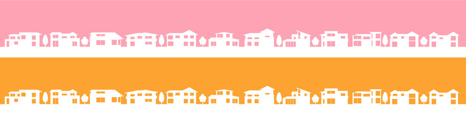 町並みシルエット反転オレンジピンク