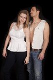 couple white top open vest serious