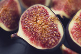 Close-up of sliced ripe fig fruits, horizontal shot