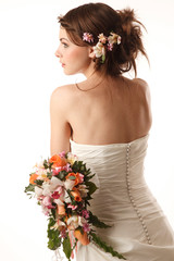 Gourgeus classical bride Holding bouquet