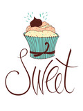 Sweet chocolate cupcake design card