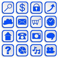 Infographics Paper Cutouts Web Icons Blue EPS10