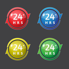 24 hrs Available Vector Glossy Icon