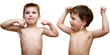 demonstration of muscles by two three years boys