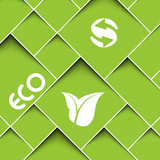 Square green background with ecology signs poster
