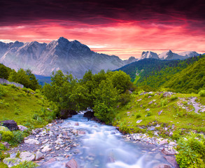 Colorful summer landscape near the river in the huge mountains.