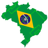 vector of soccer ball with map and flag of Brazil