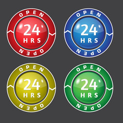 24 hrs Open Vector Glossy Icon