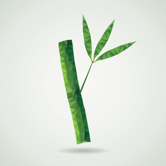 vector green bamboo branch made of triangles