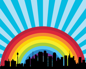 vector city and rainbow