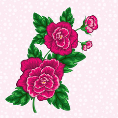 vector decorative floral design of tropical flowers