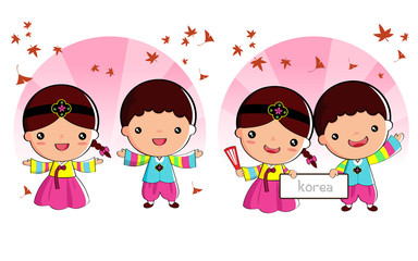 Korean traditional costume, cartoon,  Boys and girls