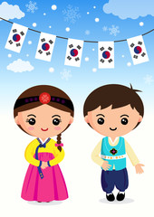 Korean traditional costume Boys and girls, cartoon, asian