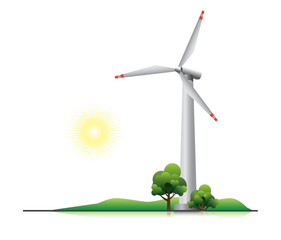 Wind turbine with trees and little hill