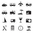 Silhouette Travel, transportation, tourism and holiday icons