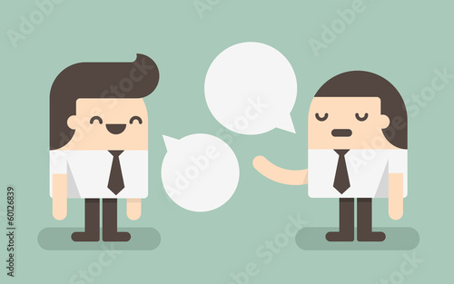 Two businessmen discussing with speech bubble. concept of commun
