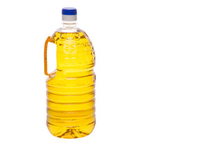 Vegetable cooking oil in a plastic container