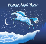 Snow horse in the starlight sky, vector illustration