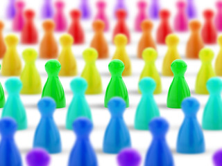 crowd of colored pawns