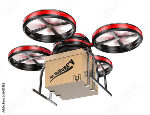 3D drone delivering a package