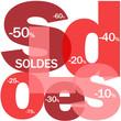 """Mosaïque de Lettres """"SOLDES"""" (courses shopping offre spéciale)"""