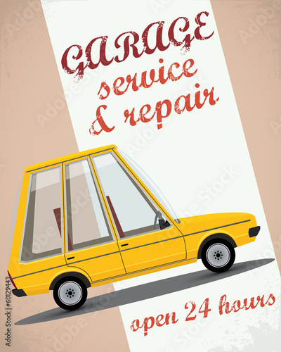 Retro car service sign