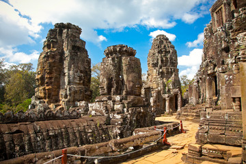 Famous smile face statues of  Prasat Bayon temple , Cambodia.