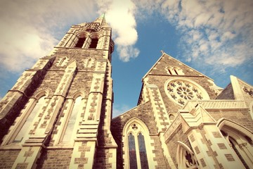 Christchurch cathedral, New Zealand. Cross processed color.