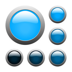 vector blue glass buttons