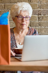Customer Using Laptop In Cafe