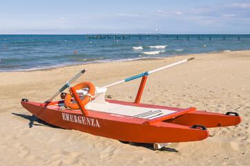 Italian lifeguard rescue rowboat - Rimini Beach