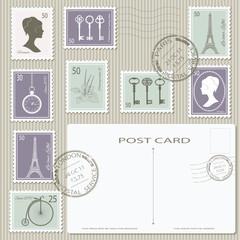 Vintage postage stamp set with postal card back.
