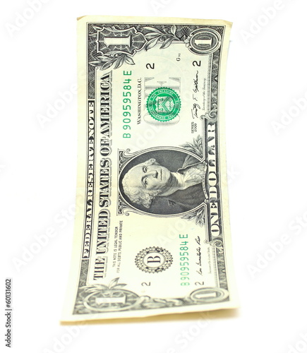 american dollar close-up on white background